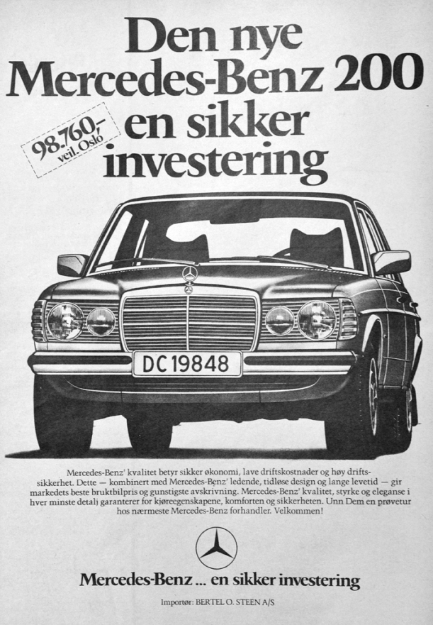 Mercedes W123 Reklame Norge_1